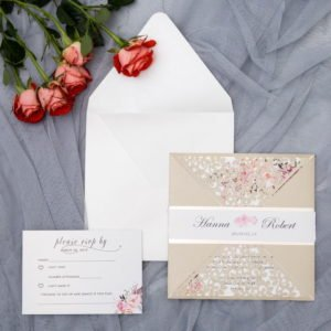 cream petal fold invitation suite