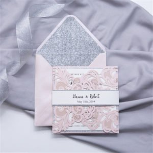 blush floral gate card with white and silver belly band