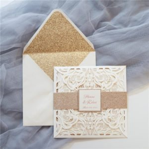 ivory petal fold invitation suite with gold shimmer belly band
