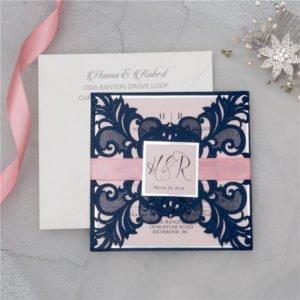 navy blue gate card invitation suite with pink ribbon
