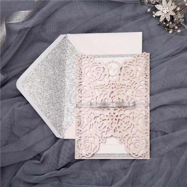 blush floral gate card invitation suite