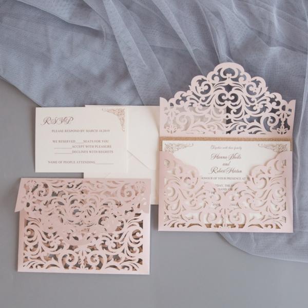 blush laser envelope pocket invitation suite