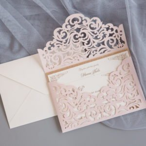 blush laser envelope pocket invitation suite
