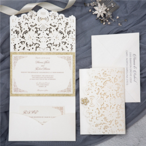 cream pocket fold invitation suite