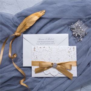 white envelope pocket invitation suite