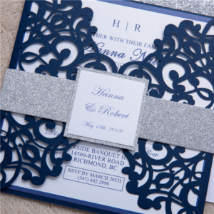 blue and silver invitation